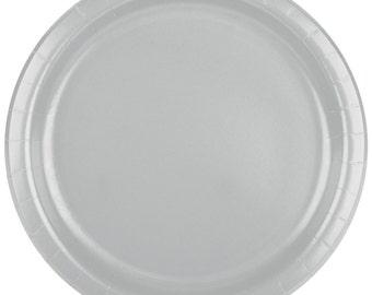 """25 (7"""") Silver Round Paper Plate, Wedding Supplies, Wedding, Wedding Decor, Plastic Plates, Party Supplies, Party, Paper Plates, Wedding"""
