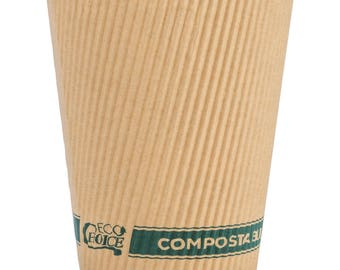 50ct 12oz Kraft Compostable & Biodegradable Paper Hot Cup, Coffee Cups, Disposable Coffee Cups, Cups, Eco-Friendly, Party Supplies, Wedding