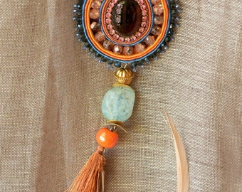 Statement soutache necklace, Soutache jewelry, Soutache necklace, Handmade jewelry, Boho necklace, Statement jewelry, Long necklace, Boho