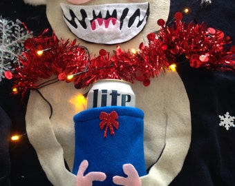 Ugly Christmas sweater Ladies with beer holder Santa hat and lighted scarf  adorable! Order the Male Yeti too so you can go as a couple!!!