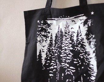 handprinted cotton tote forest black metal occult