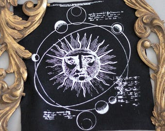 hand printed backpatch solar system occult