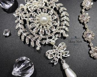 Pearl Wedding brooch, Crystal Pearl Silver Brooch, Rhinestone Brooch, Crystal Bridal Brooch, Vintage Wedding Brooch, Large Crystal Brooch