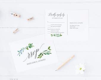 RSVP Postcard, RSVP template, Wedding rsvp, rsvp Postcard, wedding rsvp cards, rsvp printable, Response Card, PDF Instant Download #E018