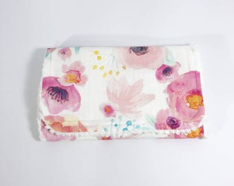 Floral Burp Cloth - Baby Burp Cloth - Baby Girl Burp Cloth - Watercolor floral - Pink Flowers -  Orange Flowers - Baby Shower Gift - Blush