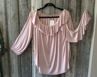 Blank Blush Ruffle Top