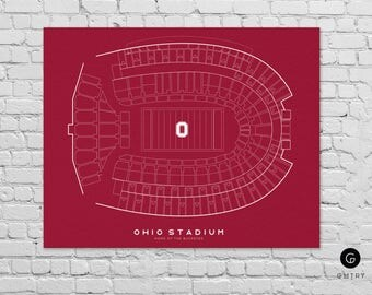 "Ohio Stadium Print - 8"" x 10"" - Fan Art - Ohio State Buckeyes 