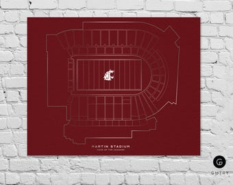 "Martin Stadium Print - 8"" x 10"" - Fan Art - Washington State Cougars 