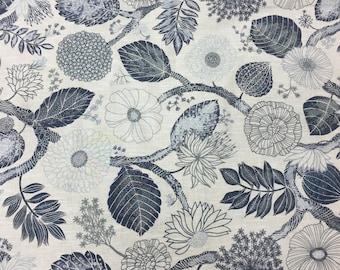 Cotton fabric with blue white wild Flowers, Flowers fabric, Scandinavian design