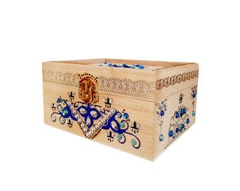 Hand Decorated Wooden Box - SILVER BLUE OCEAN