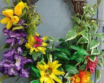 Summer Wreath, Flower Wreath, Yellow purple orange and green summer wreath, front door flower wreath, medley of flowers and greenery wreath.