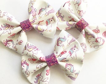 Unicorn bow | Unicorn clip | Unicorn | Faux Leather Bow | Hair Bow | Hair Clip