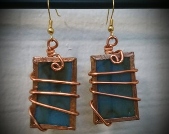 Wire Wrapped Glass Pendant Earrings