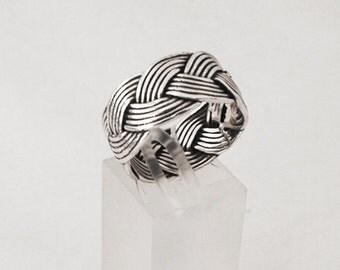 925 Silver braided man ring