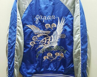 Sukajan Jacket Satin Vintage Rare Embroidered Flying Hawk Japan Yokosuka Varsity Souvenir Jacket
