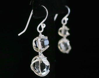 Sterling Silver Herkimer Diamond Two-Stone Hanging Earring —