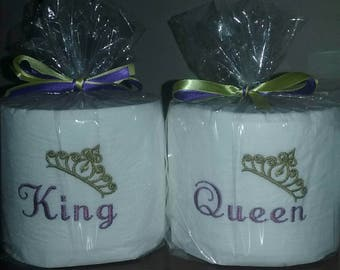 King & Queen Embroidered Toilet Paper Gift Sets