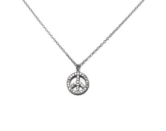 Peace sign necklace charm