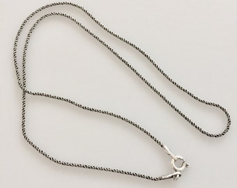 Solid Oxidized Sterling silver chain necklace