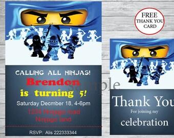 Instant Download - Ninjago invitation + free thank you card , Ninjago Birthday ,Ninjago  party, , printable