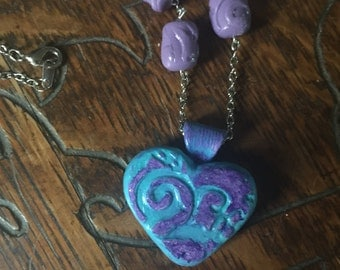 Polymer Clay Necklace Turquoise Heart Necklace Purple Heart Necklace Turquoise Necklace/Purple and Turquoise Heart Necklace with Beads