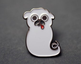 Ghost Pug Enamel Pin