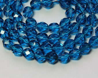 6mm Blue Beads Czech Glass Dark Aqua Blue Faceted Rounds 16 inch Strand 68 Beads
