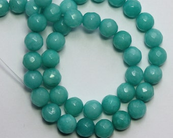 8mm Green Beads Jade Seafoam Green Faceted Rounds 15 inch Strand 45 Beads Stone Gemstone