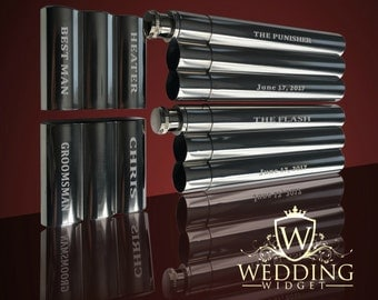 2 Groomsmen gifts - Groomsman and Best Man gift set - Engraved flask and cigar combination case - Personalized wedding gift - Gift for him