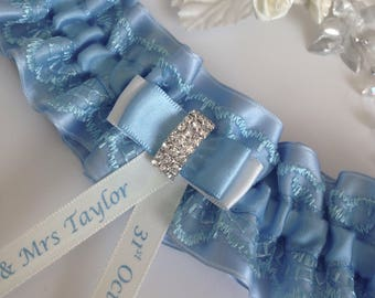 Personalised wedding garter - Blue & Ivory Satin, available in S/M and plus/large sizes