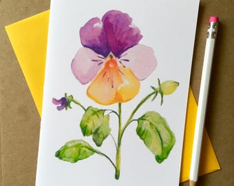 Single Hand Watercolored Pansy Card