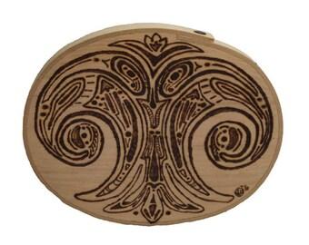 Woodburned Oval Design Box