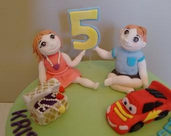 handmade edible childrens cake topper set