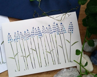 Muscari flowers greetings card
