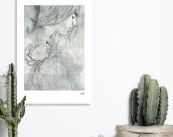 Illustration Art - woman Green Crab
