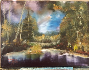 Oil painting of night time lake
