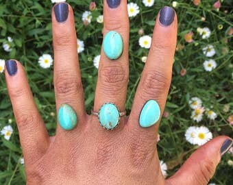 Elisa Turquoise Ring / Sterling Silver Ring / Silver Turquoise Ring / Custom Turquoise Ring / Blue Turquoise Ring / Genuine Turquoise