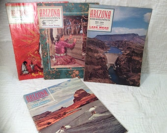 Vintage 1964 Arizona Highways magazines, lot of 4 issues January, May, September, and December old books photos history