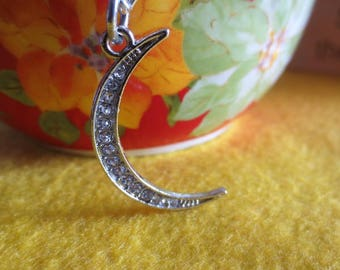 Pretty Rhinestone Moon Necklace