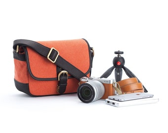 Personalized canvas camera bag : Amadad orange messenger bag style for mirrorless camera fuji sony canon nikon leica