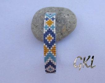 Blue/curry/beige miyuki beads woven bracelet