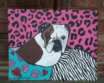 English bulldog Art on 8x10 canvas