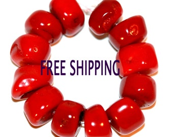 Red Coral Round Nugget Slice Beads 9mm Lot of 10 FREE SHIPPING