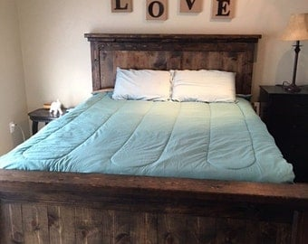 Hand made western pine bed frame