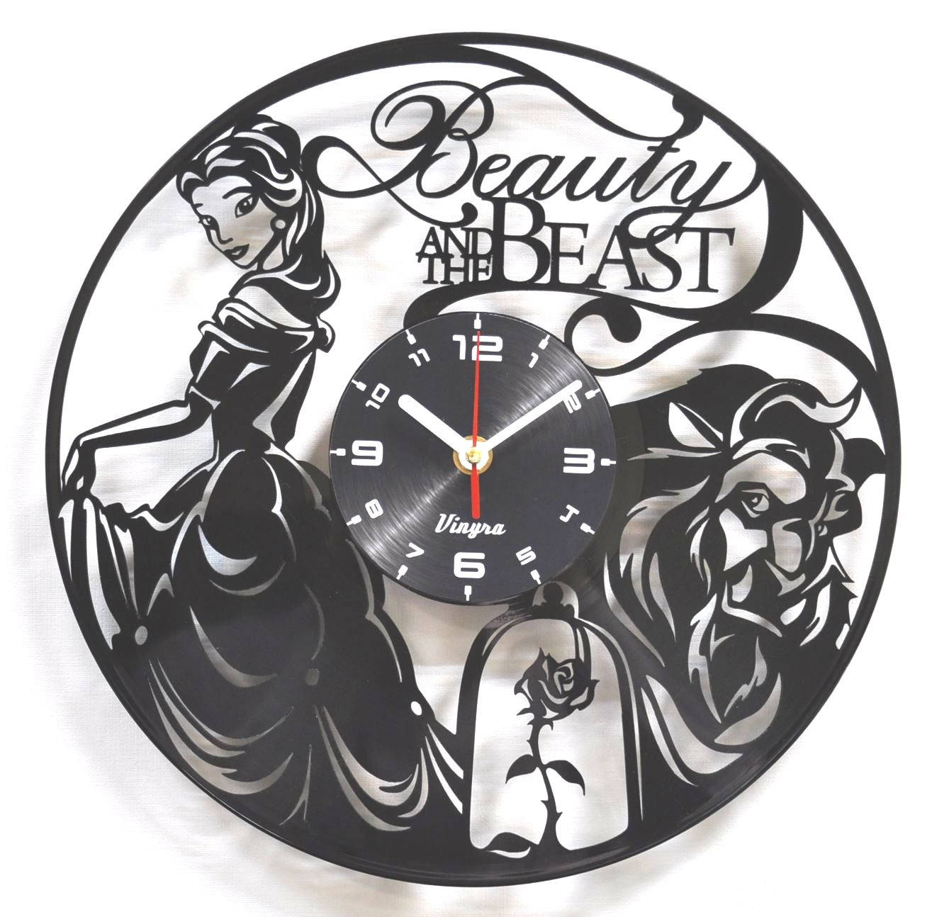 Beauty and the beast vinyl wall clock of recycled lp record zoom amipublicfo Choice Image