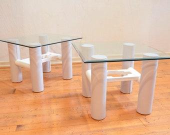 White Leather Vintage Southwestern Side Tables