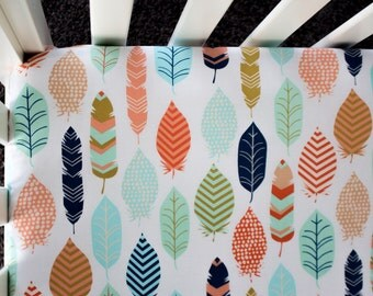 Feather Tribal Fitted Crib Sheet. Baby Bedding. Crib Bedding. Tribal Bedding. Boho Bedding.