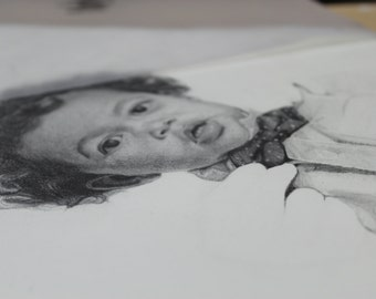 CUSTOM CHILDREN'S PORTRAIT hand drawn graphite pastel charcoal drawing on paper made to order