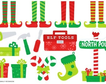 Christmas Elf, Santa's Helpers, North Pole - Cute Clipart, Clip Art - Commercial Use, Instant Download