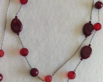 Red Beaded Long Necklace